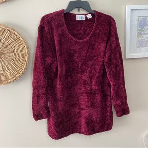 Vintage Chenille Feel Sweater Deep Pink/ Burgundy
